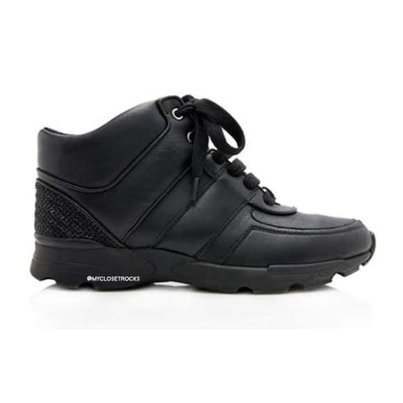 CHANEL Shoes - Chanel Black Leather High Top CC Sneakers